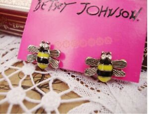E62 A Betsey Johnson Mini Yellow Rhinestone Crystal Queen Bumble Bee Earrings US