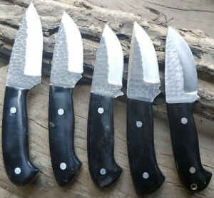 """8"""" Costume Handmade Stainless Steel Hand Forge Pair Of 5 Hunting Knife"""