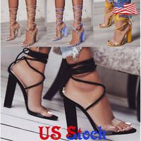 Women Lace up Block High Heel Sandals Ankle Strap Chunky Pumps Shoes Party Dress