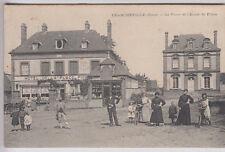 CPA  FRANCHEVILLE 27 - PLACE ECOLE DES FILLES HOTEL RESTAURANT VELO 1919 ~A18