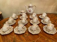 Vintage 12 Cups 12 Saucers German Bavaria Zeh Scherzer Porcelain Coffee Set