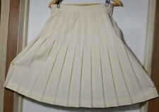 "Austin Reed Knife Pleat Skirt 12 100% Wool Lined Ivory/White 23""L Excellent!"