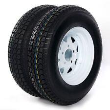 "Set of 2 175/80D13 LRC ET Bias Trailer Tire on 13"" 5 Lug White Spoke Steel Wheel"