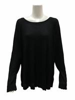 AnyBody Loungewear Women's Brushed Hacci Relaxed Top Black Medium Size
