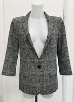 Immaculate Womens River Island Snakeskin Animal Fully Lined Blazer Jacket Size 8