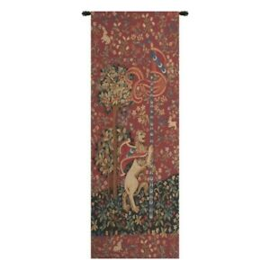 """Portiere Medieval Lion European Tapestry Wall Hanging H 77"""" x W 27"""""""