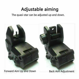 Flip up Front Rear Iron Sight Set BUIS Sights 20mm Mount for Gun Rifle Airsoft