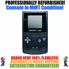 *NEW GLASS SCREEN* Nintendo Game Boy Color GBC Custom Black System MINT NEW