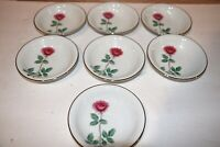 RC R C China 275 Pink Rose Set of 7 Berry Bowls with silver trim 5.5""
