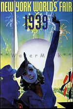 New York World's Fair 1939 Lady In Blue Vintage Poster Print World Exhibition