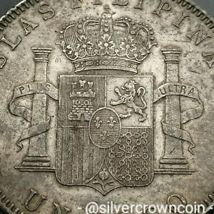 SCC Philippines Un Peso 1897 SGV. KM#154. Silver One Dollar Crown coin. One Year