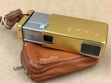 MINOLTA 16 GOLD SUBMINIATURE CAMERA W/ 25MM ROKKOR LENS & STRAP & CASE