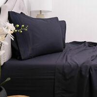 Egyptian Luxury Comfort 1800 Count 4 Piece Deep Pocket Bed Sheet Set Navy Blue