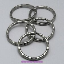 FIVE Key Ring Silver Tone Strong Ripple Split Rings Crafts Findings Jump Rings