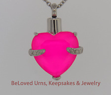 "Pink Heart Cremation Jewelry Keepsake Pendant Urn with 20"" Necklace - Funnel"