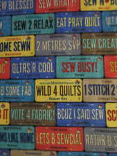 LICENSE PLATES QUILTERS SEWERS FABULOUS SAYINGS COTTON FABRIC FQ