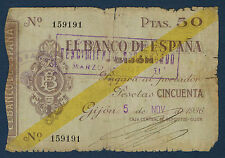 Billete de BANCO ESPAÑA - 50 PESETAS Pick Nº S.574 de 5-11-1936 en B Nº 159191