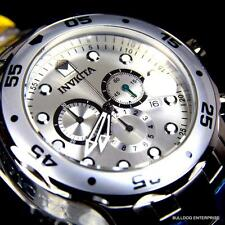 Mens Invicta Pro Diver Scuba Silver-Tone Steel Chronograph Swiss Parts Watch New