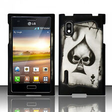 For LG Optimus Extreme L40G Rubberized Snap HARD Case Phone Cover Spade Skull