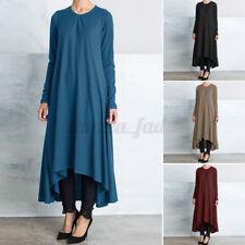 ZANZEA Damen High Low O-Ausschnitt Maxikleid Freizeit Herbst Langarm Kleid Dress