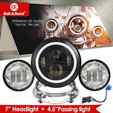 "7"" LED Headlight Projector For Harley Softail Custom Deuce Deluxe Slim Standard"