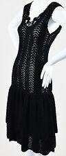 Oscar De La Renta Italy Black Silk Drop Waist A-Line Dress Women's Size S EUR S