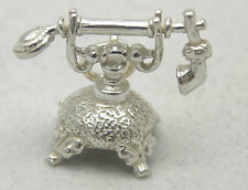 MOVING STERLING SILVER ANTIQUE TELEPHONE CHARM