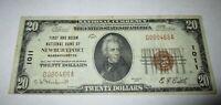 $20 1929 Newburyport Massachusetts MA National Currency Bank Note Bill #1011 VF!