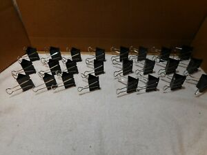 """LOT OF 24 Big Binder Clips 2"""" LONG 1"""" BITE Large Jumbo Size  Steel Wire"""