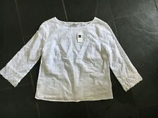 NEW GAP SIZE X LADIES WHITE COTTON EMBROIDERED BLOUSE 3/4 SLEEVES EX CON £39.95