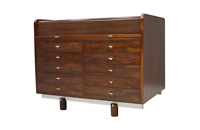 Gianfranco Frattini Mahogany Secretary Desk with Roll Top Bernini Italy 1961