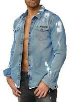 Redbridge Herren Jeanshemd Freizeithemd Jeans Hemd Denim Langarm Destroyed Shirt