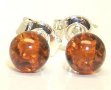925 Sterling Silver Cabochon Single Ball 4mm  Cognac Amber Stud Earrings