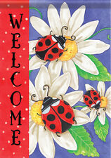 Garden Flag, Ladybug Trio, Daisies, Floral, Welcome, Double Sided, 2 Sided