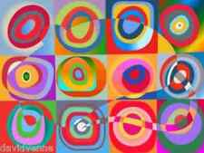 Needlepoint Canvas - Kandinsky Abstract Circles 9x12 inch image ready to finish