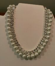 RALPH LAUREN SILVER CHAIN AND PEARL NECKLACE, MODERN ELEGANCE  3699