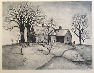 WPA Era American Lithograph signed by unknown artist from Will Barnet Estate