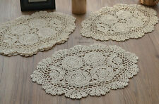 """Set 4 Hand Crochet 16"""" Oval Doilies French Country Ecru"""