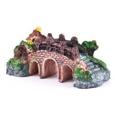 Small Aquarium Resin Bridge Landscape Fish Tank Ornament Pavilion Tree Decor US