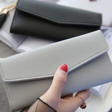 Women Lady Leather Envelope Clutch Wallet Coin Purse Card Holder Trifold Wallet