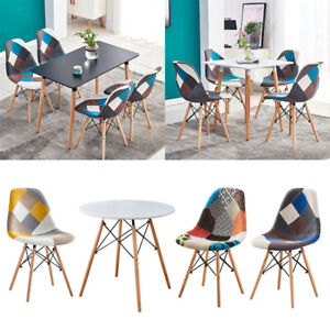4 Pcs Patchwork Fabric Dining Chairs/ Dining Table Home Office Lounge