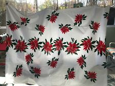 "Vera Neumann Tablecloth Red White Poinsettias Holiday Christmas 100""x55"" Vintage"