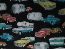 Retro Cars Trailers Campers Rvs Trucks Woody Black Cotton Fabric Fq