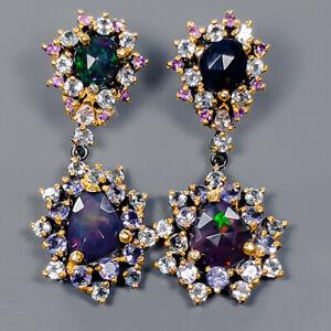 Black Opal Earrings Silver 925 Sterling Beauty Rainbow SET2ct+  /E41983