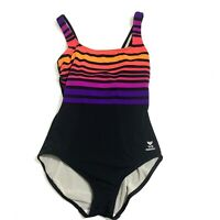 TYR One Piece Black 8 Swimsuit Bathing Swimming Striped