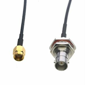 """RF Cable BNC female nut bulkhead to RP-SMA male RG174 6""""~10FT for radio antenna"""