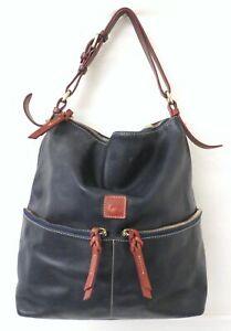 Dooney & Bourke Navy Blue Pebble Leather Large Hobo Bag Purse