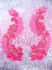 "0180 Hot Pink Mirror Pair Sequin Beaded Appliques 8"" Diy Crafts Dance Costumes"