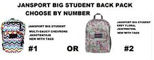 JANSPORT BIG STUDENT BOOK BAG BACKPACK CHOOSE COLOR #1 OR #2 NEW WITH TAGS
