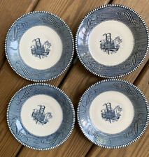 """4 Vtg Royal China Currier &Ives Steamboat 6"""" Plates Saucers Blue White"""